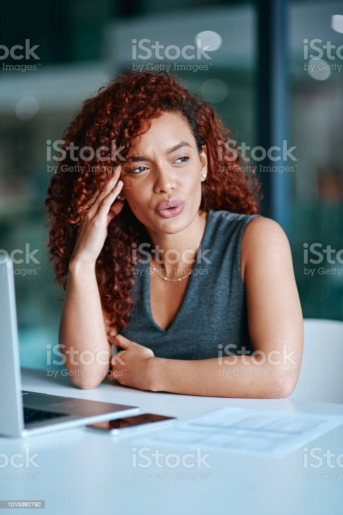 The worries of work are becoming unbearable stock photo