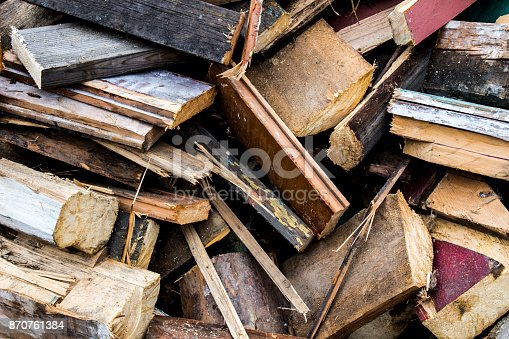 istock The wreckage of a ruined wooden house, background, texture 870761384