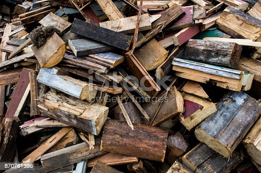 istock The wreckage of a ruined wooden house, background, texture 870761396