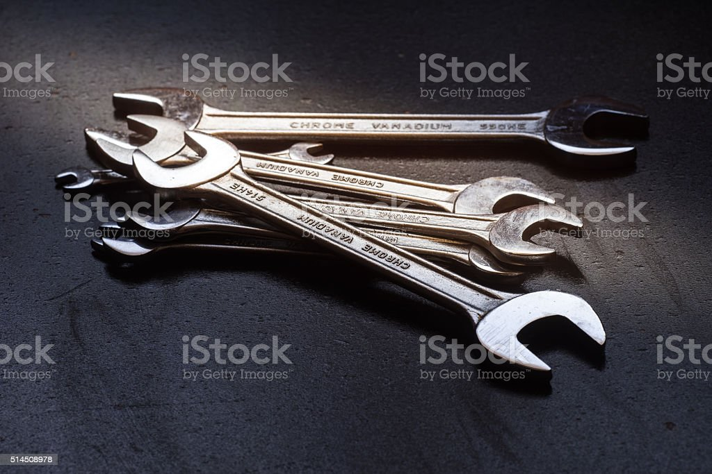 The wrench steel tools for repair stock photo
