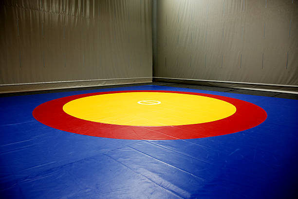 the wrestling mat into the hall - wrestling stock photos and pictures