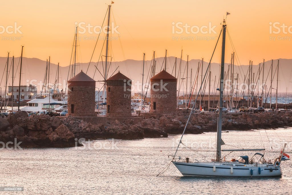 The yacht on the background  in the Mediterranean stock photo