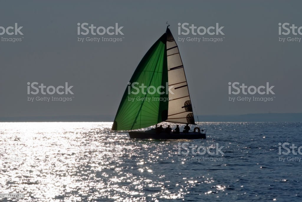 The yacht takes part in competitions in sailing stock photo