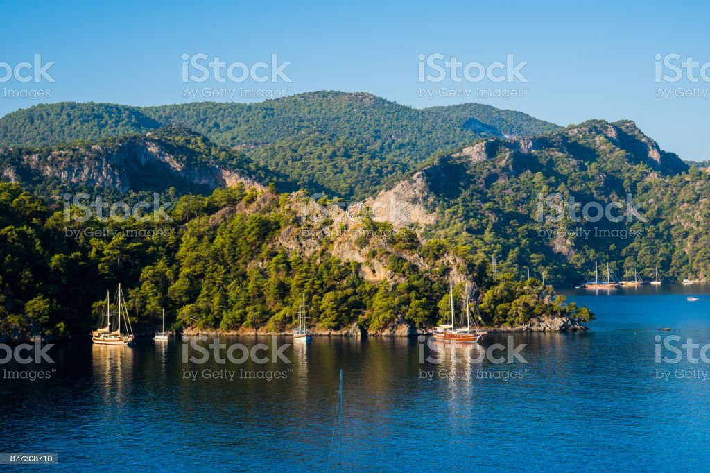 The yachts in the gulf of Fethiye. stock photo