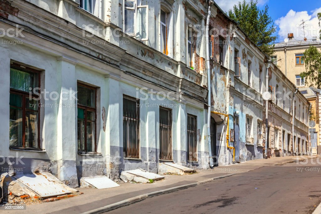 The 'Yaroshenko' lodging house of Khitrovskaya Square. stock photo