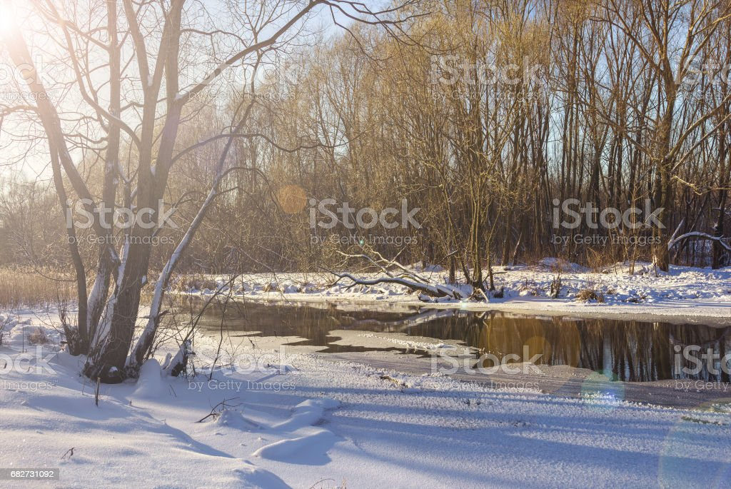 The Yauza River on a winter day stock photo