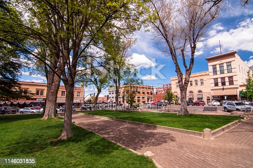 Prescott, Arizona, USA 04/22/2019 The Yavapai County Courthouse Square looking at the corner of Gurley and Montezuma Streets on a sunny spring day