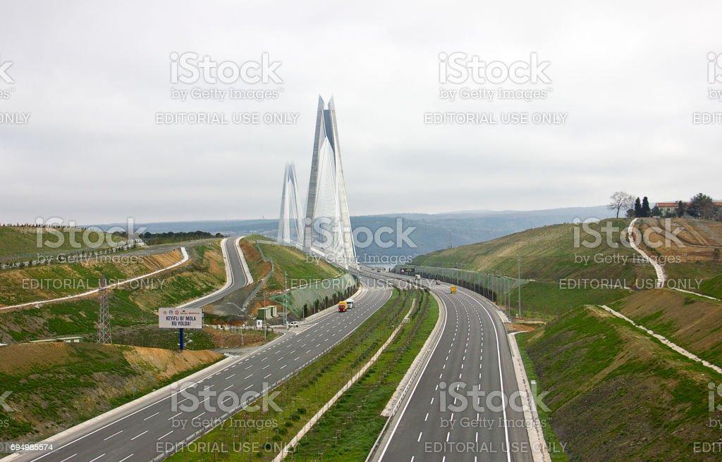 The Yavuz Sultan Selim Bridge, the Third Bosphorus Bridge stock photo