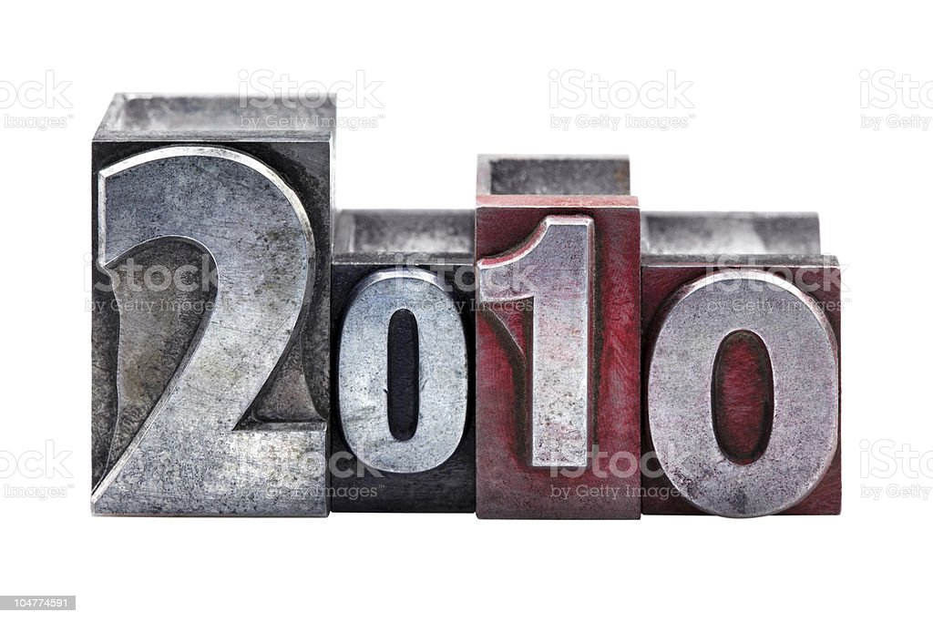 The year 2010 in letterpress stock photo