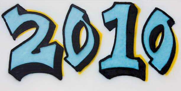 l'anno 2010 spray dipinto sulla parete - 2010 foto e immagini stock