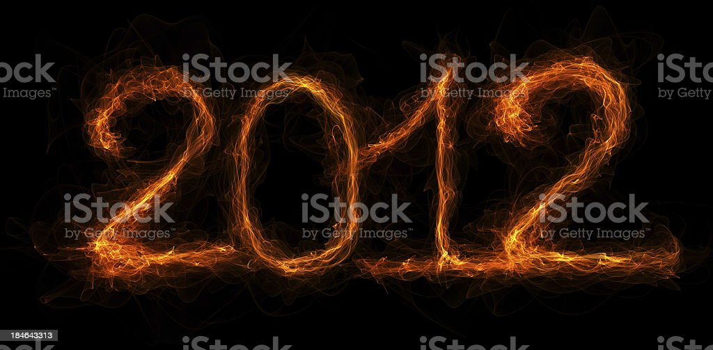 The year 2012 written in flames royalty-free stock photo