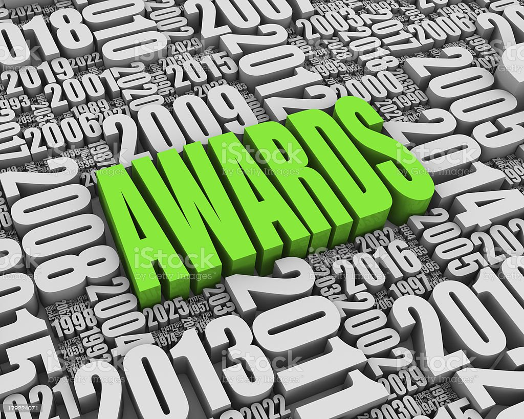 The yearly annual awards poster in green and white stock photo