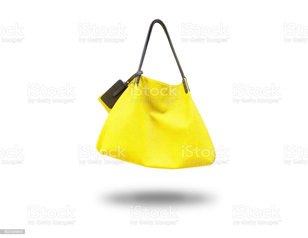 The yellow bag lady,isolated - foto de acervo