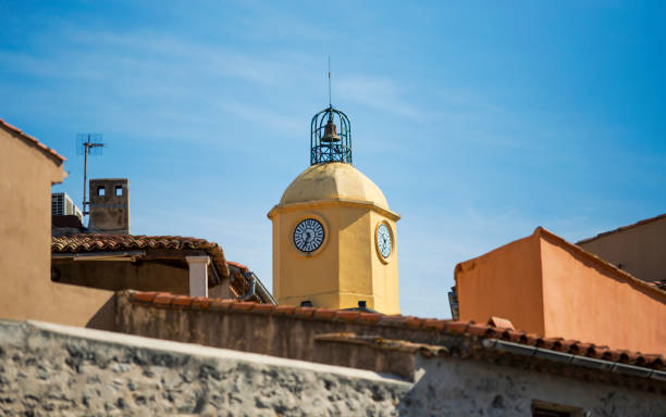 The yellow bell tower stock photo
