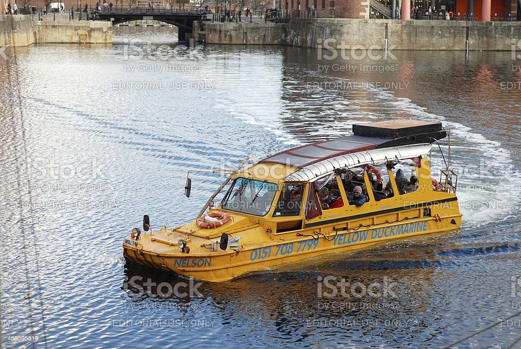 The Yellow Duckmarine inside Albert Dock stock photo