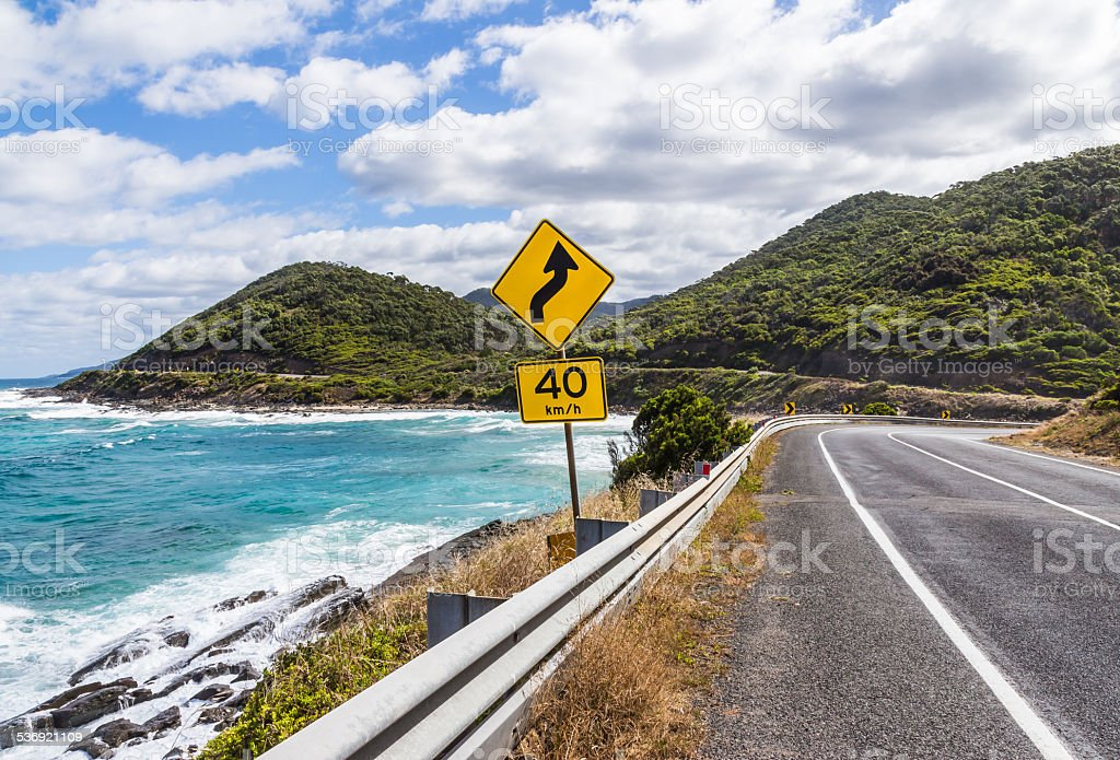 The yellow signs on the great ocean road stock photo
