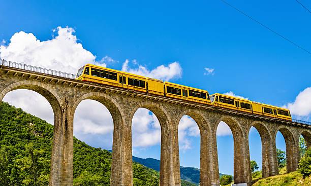 The Yellow Train (Train Jaune) on Sejourne bridge stock photo