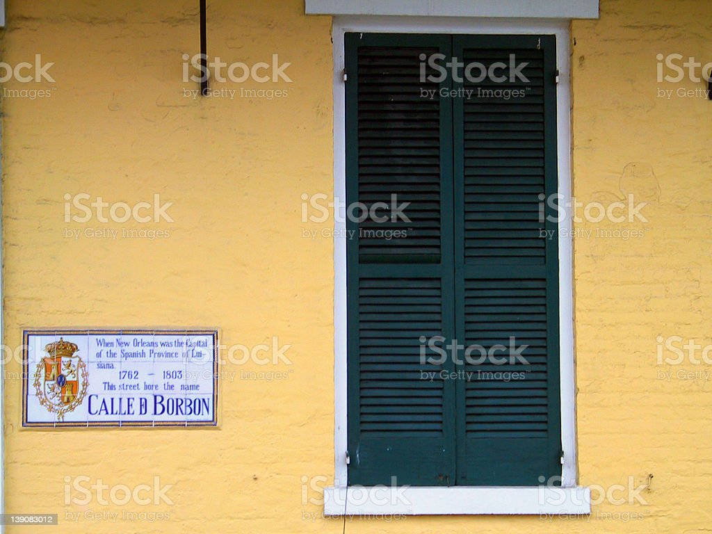 The Yellow Wall of Bourbon St. royalty-free stock photo