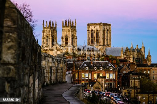 The York Minster in the United Kingdom, taken in the evening from the city wall.