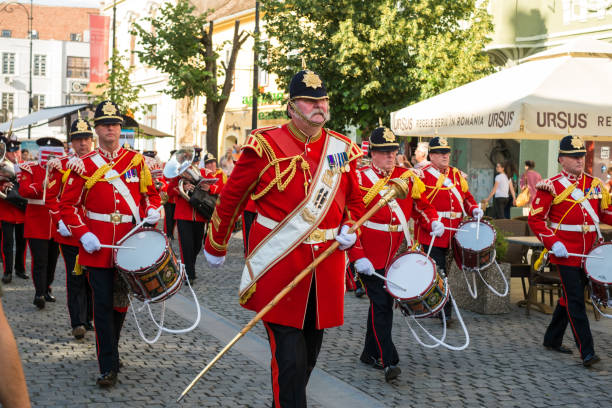 The Yorkshire Volunteers Band from UK, performing at the Sibiu International Theatre Festival from Sibiu, Romania. Sibiu City, Romania - 18 June 2019. The Yorkshire Volunteers Band from UK, performing at the Sibiu International Theatre Festival from Sibiu, Romania. prince musician stock pictures, royalty-free photos & images