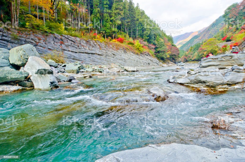 The Yoshino River is a river in the island of  Shikoku, Japan. stock photo