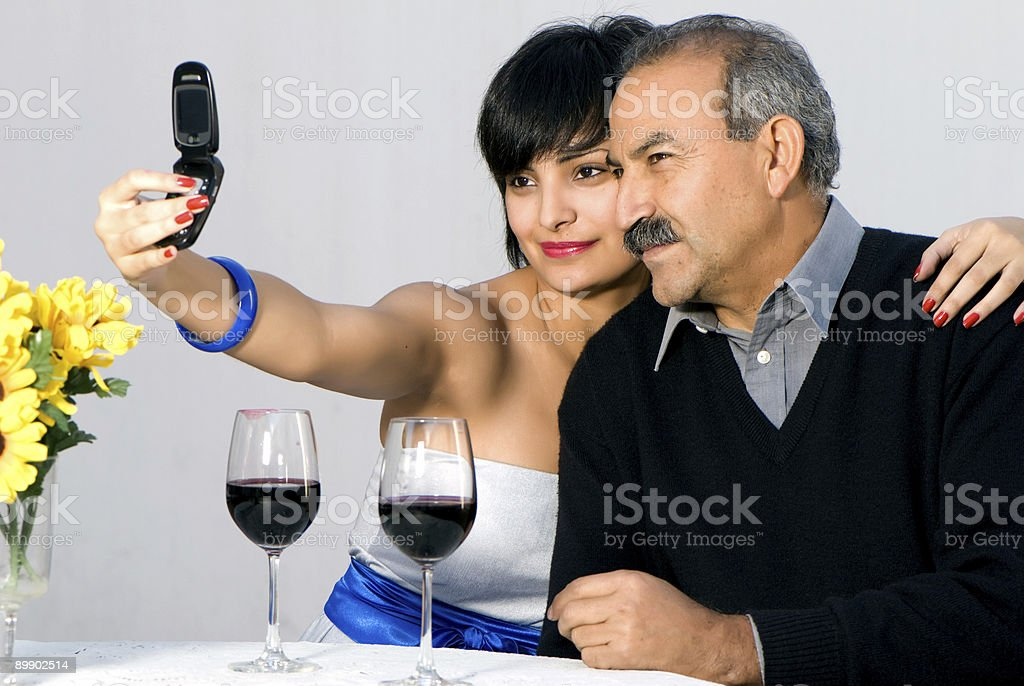 The young beautiful girl with father are photographed. royalty-free stock photo