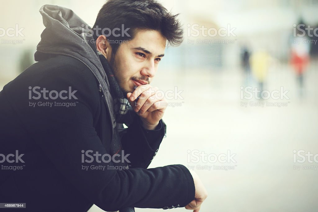 The Young Boy Thinking stock photo
