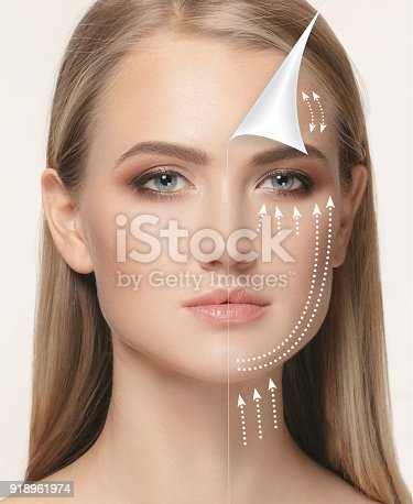 istock The young female face. Antiaging and thread lifting concept 918961974