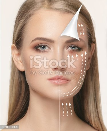 istock The young female face. Antiaging and thread lifting concept 918961992