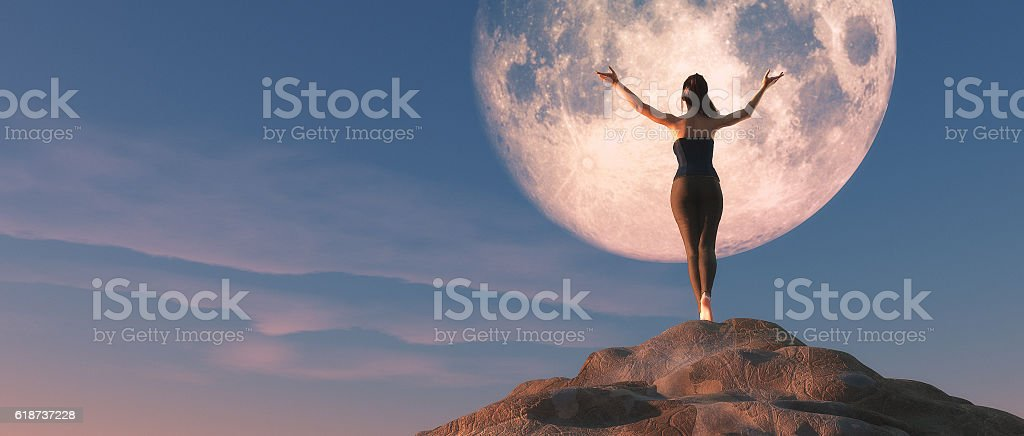 The young female watching the  moon. stock photo