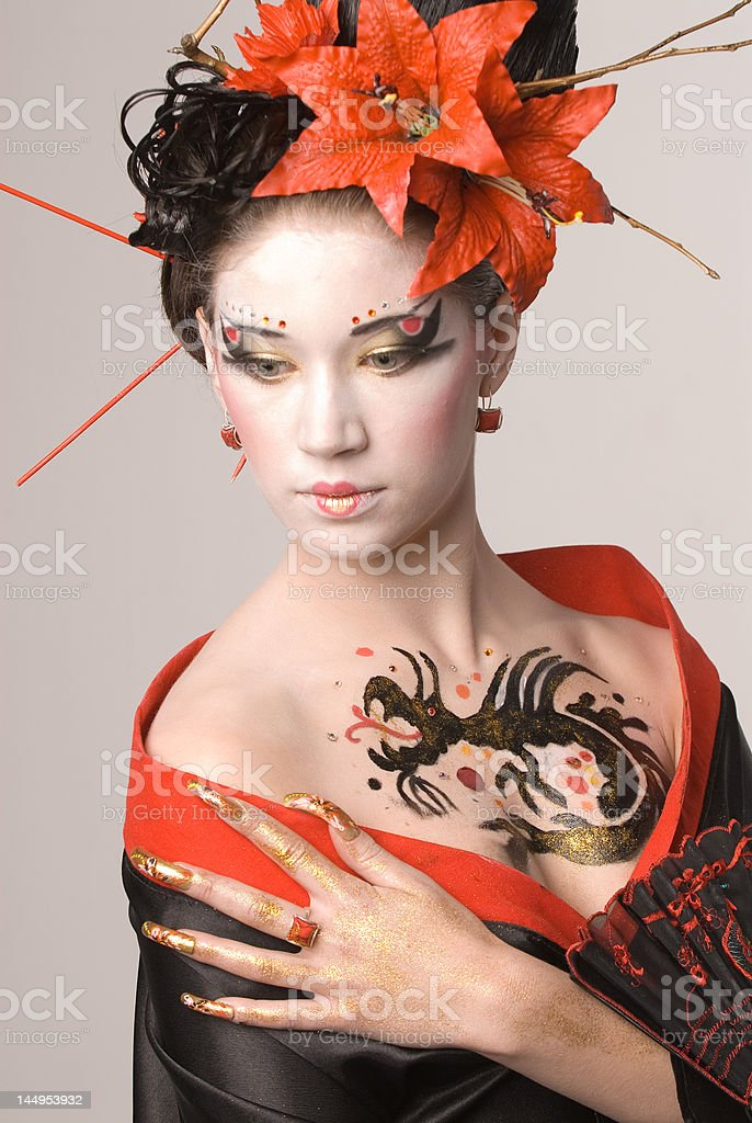 The young Japanese woman royalty-free stock photo