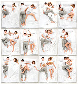 The young lovely couple lying in a white bed, love lconcept, top view. Collage