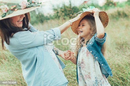 istock The young mother and daughter on green grass background 488755498