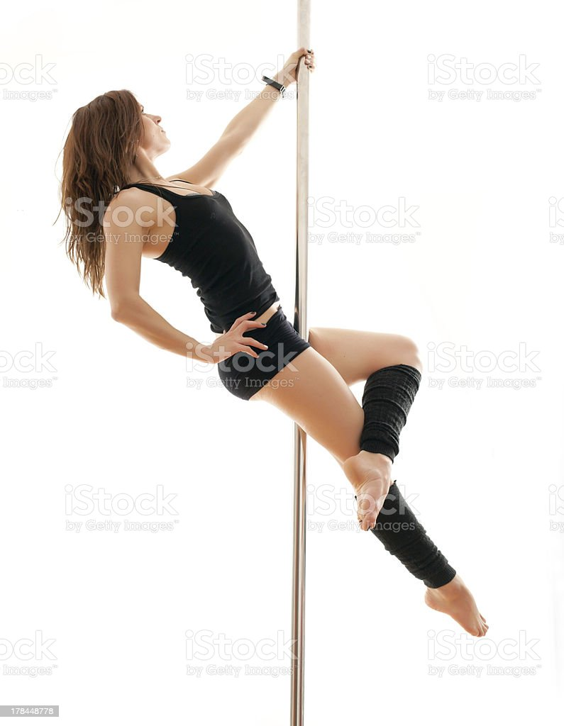 The young woman on a pole stock photo
