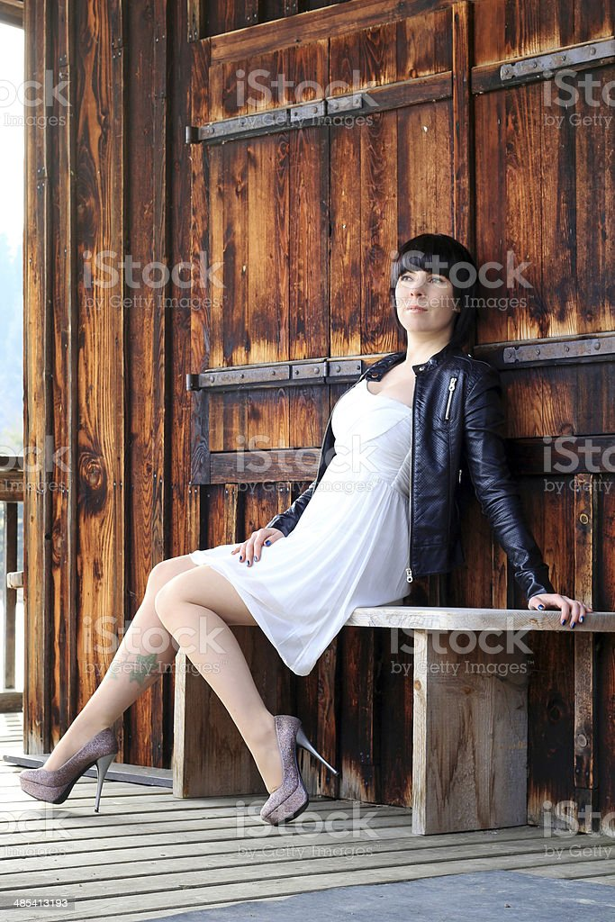 the young woman stock photo