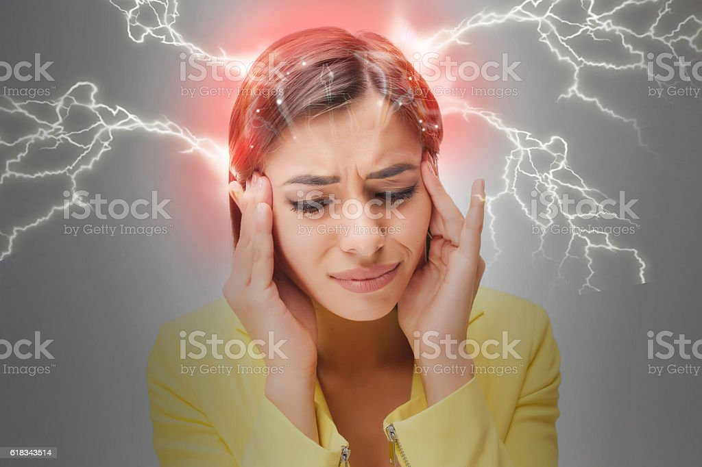 The young woman's portrait with pain emotions royalty-free stock photo
