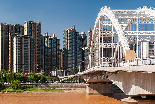 The Yuantong Bridge over the Yellow River in Lanzhou (China) stock photo