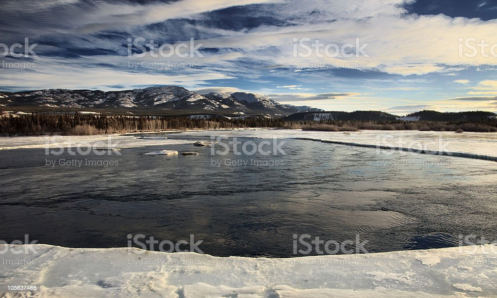 The Yukon River in the winter time stock photo