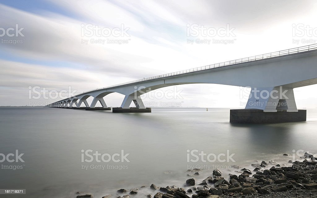 The Zeeland Bridge connecting islands in the Netherlands stock photo
