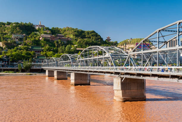 The Zhongshan Bridge in Lanzhou (China) during a sunny afternoon stock photo