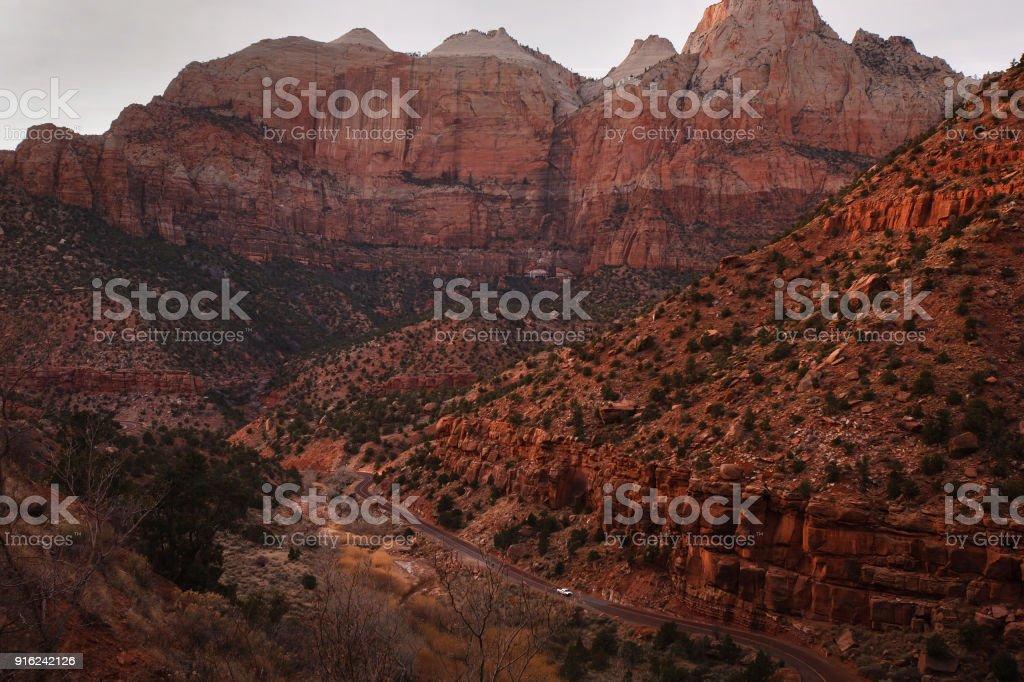 The Zion Mount Carmel Highway in Southwestern Utah stock photo