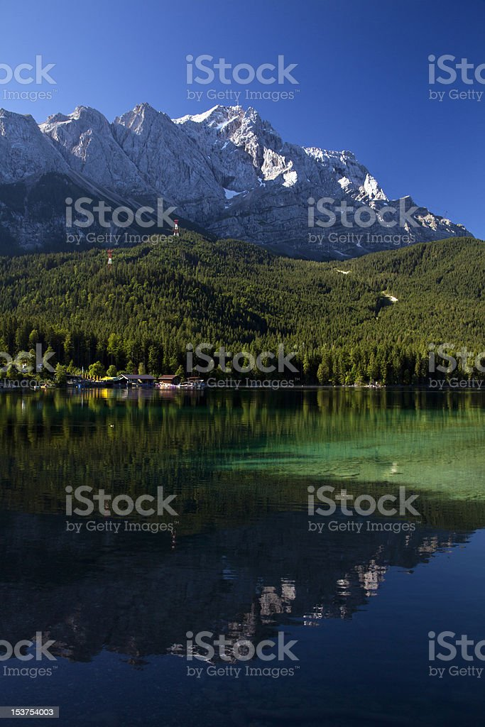 The Zugspitze and Eibsee - Bavaria, Germany stock photo