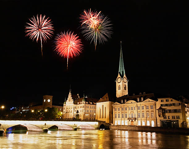 The Zurich City Skyline at night The Zurich City Skyline at night with firework illustration fraumunster stock pictures, royalty-free photos & images