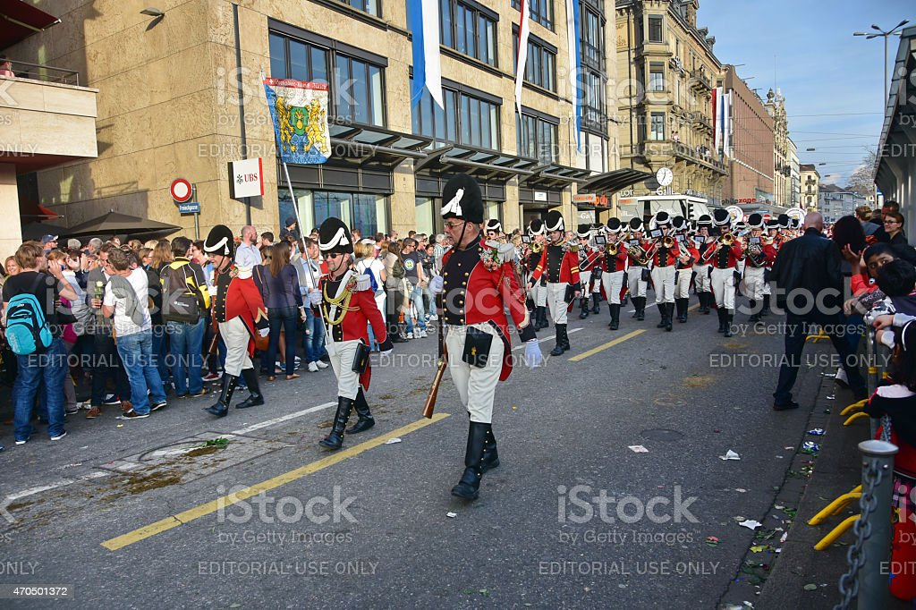 People celebrating the Sechselauten - Zurich Spring Festival - a...