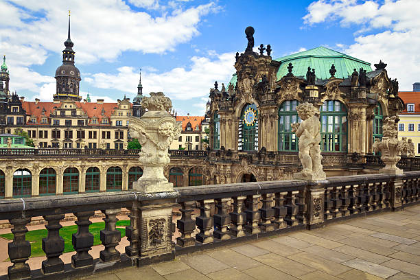 The Zwinger in Dresden The Zwinger in Dresden with the Old town  in the background zwanger stock pictures, royalty-free photos & images