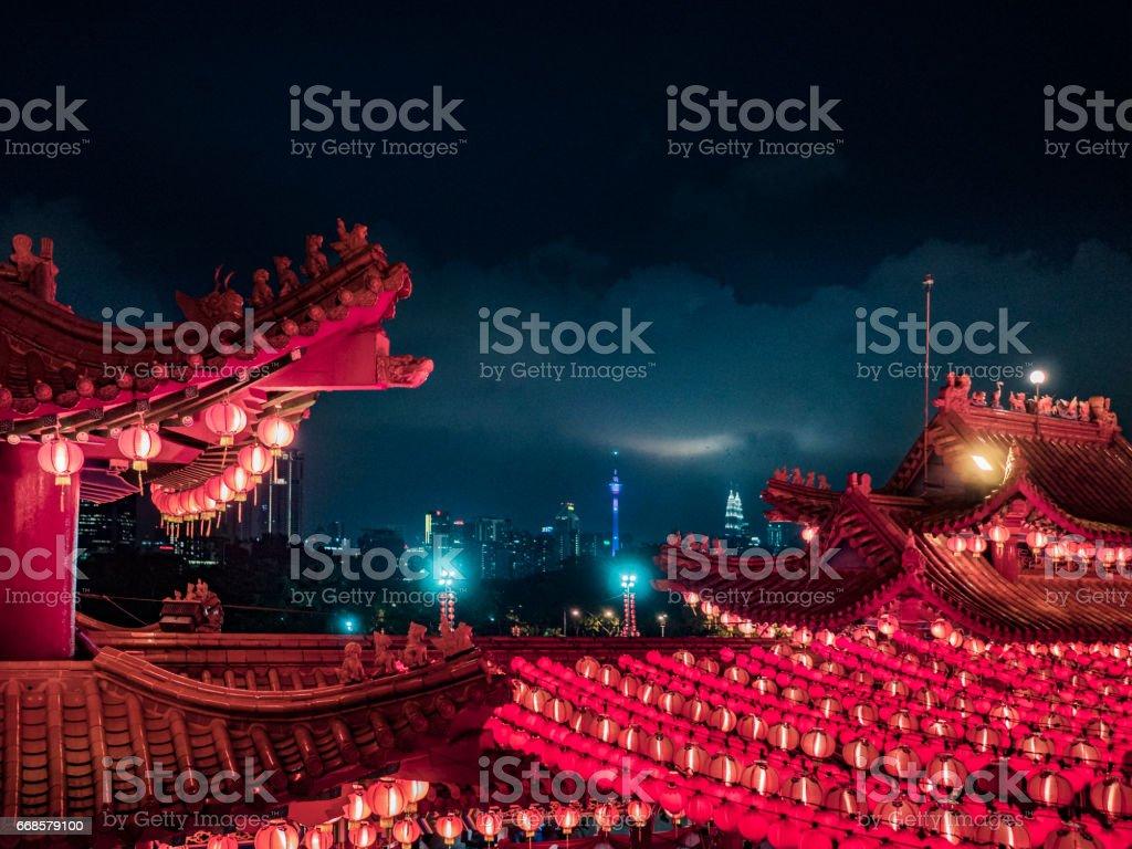 Thean Hou temple at night in Kuala Lumpur Malaysia stock photo