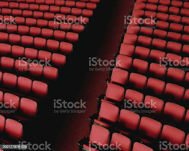 Theater Aisle Between Red Seats Overhead View Stock Photo - Download Image Now