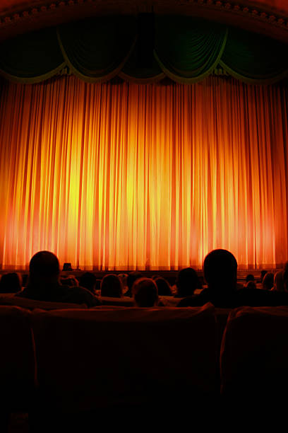 Theater and red curtain stock photo