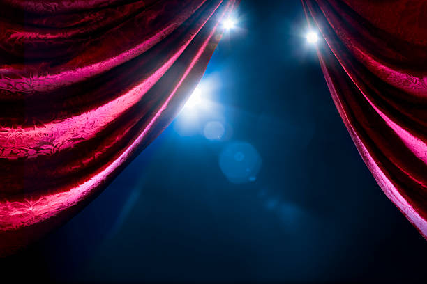theater curtain with dramatic lighting - opera stock photos and pictures