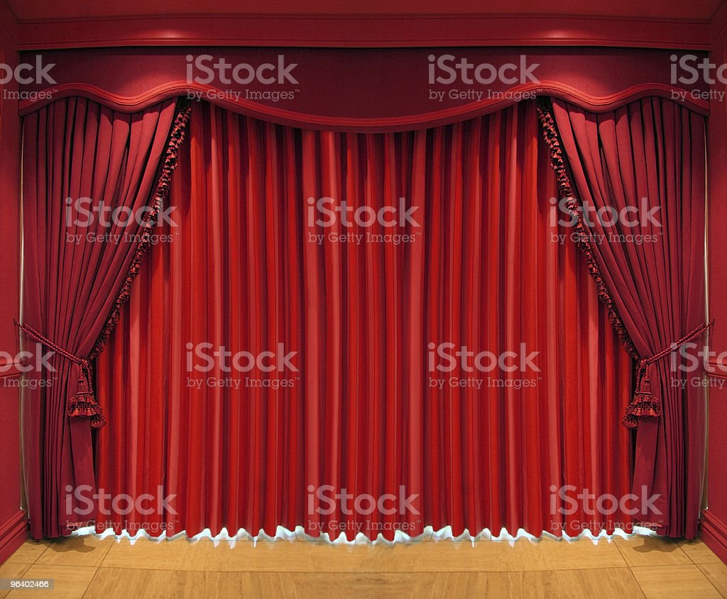 Closed theater curtains - Theater Curtains Closed Before A Play Royalty Free Stock Photo